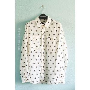 "Hurley | ""Wilson"" Sheer Polka Dot Button-Up Blouse"